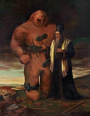 Representación del Golem de Praga y de su creador