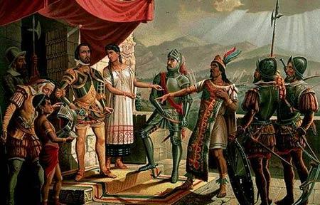 Hernán Cortés y Moctezuma II