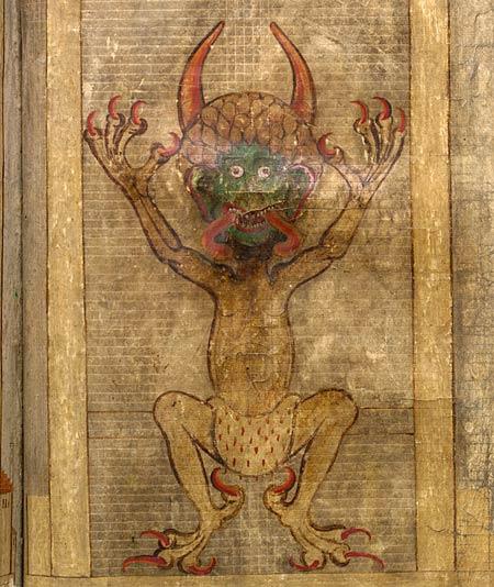 Ilustración del diablo en el Codex Gigas