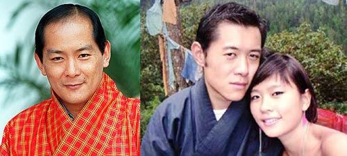 Jigme Singye Wangchuck y Jigme Khesar Namgyal Wangchuck con su esposa Jetsun Pema Wangchuck