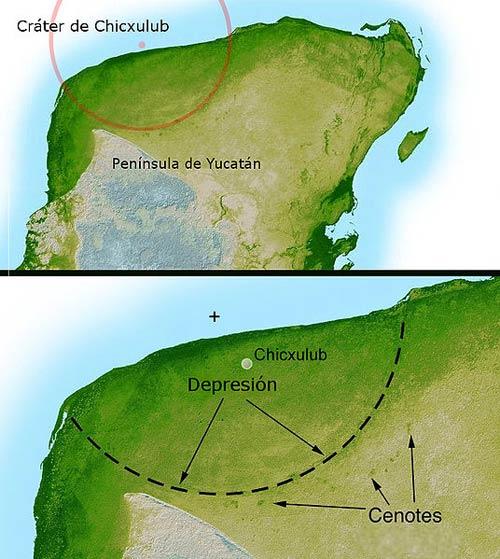 El cráter de Chicxulub en la península de Yucatán, México