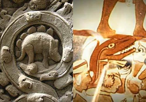 Dinosaurio en Angkor Wat y en dibujo maya