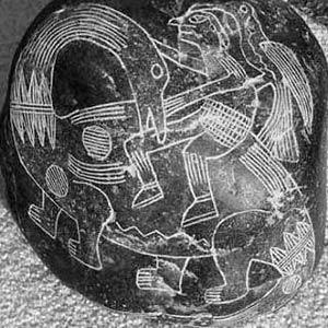 Un humano con un dinosaurio en una Piedra de Ica