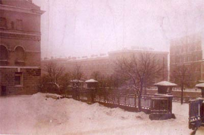 Patio del palacio Yusúpov el día después del asesinato de Rasputín