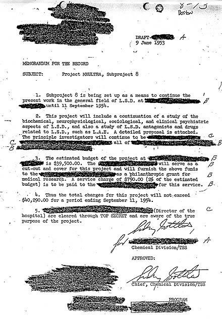 Memorando MK Ultra de la CIA