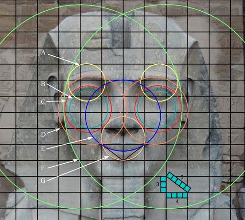 Simetría perfecta en el rostro de Ramses II, en Luxor